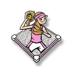 Stock Pink Softball Girl Trading Pin